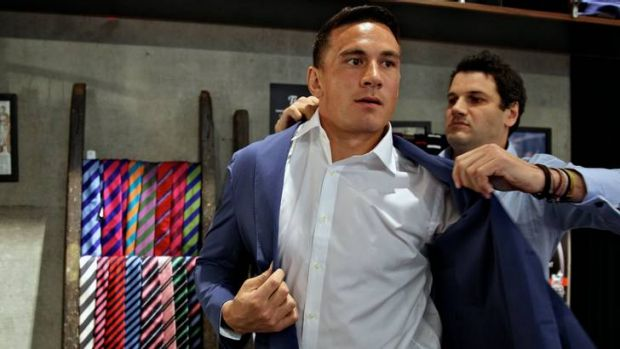 Suited and booted ... Sonny Bill Williams suits up for his  press conference on Tuesday.