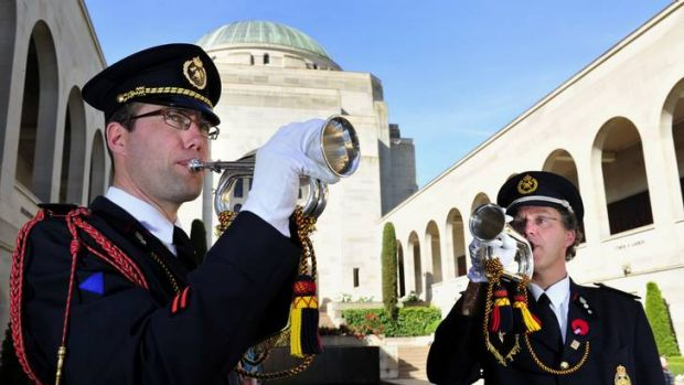 Buglers from Belgium, Jan Callemein and Filip Top, will play the Last Post at the Australian War Memorial, Canberra.