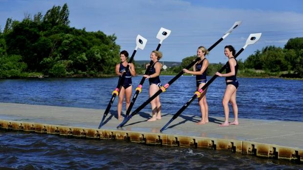 Canberra's first all female rowing team, L-R: Nicole Cobb of Holt, Megan Bancks of Farrer, Annie McAppion of Chifley and ...