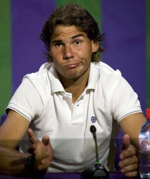 Rafael Nadal speaks to the media on June 28 after he was beaten in his second round Wimbledon men's singles match by the ...