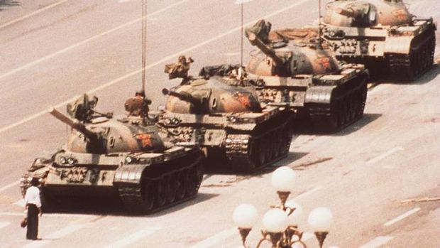 Icon ... a lone protestor during the protests prevents a line of tanks from reaching Tiananmen Square.