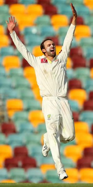 Reason to rejoice: Nathan Lyon celebrates after trapping Jacques Rudolph lbw on the final day of the first Test.