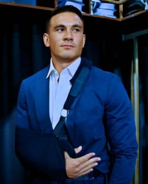 The suit in question ... Sonny Bill Williams prepares for his press conference.