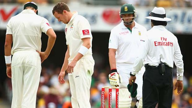 Out, then not out: Peter Siddle looks at his footmarks after his dismissal of Jacques Kallis on the first day was ruled ...