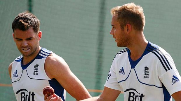 England bowlers James Anderson and Stuart Broad during a nets session in Ahmedabad on Tuesday.