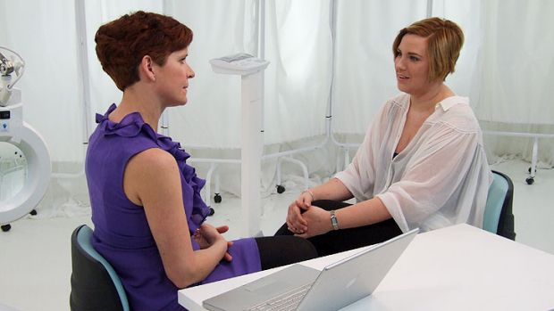 At the <i>Embarrassing Bodies</i> clinic, Amy seeks advice about an extensive scar.