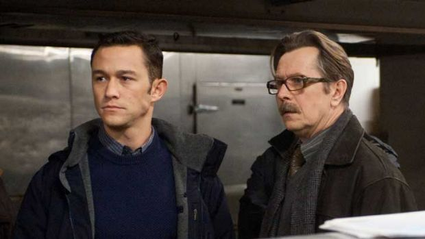 Gotham guerrilla fighters ... Joseph Gordon-Levitt and Gary Oldman in <i>The Dark Knight Rises</i>