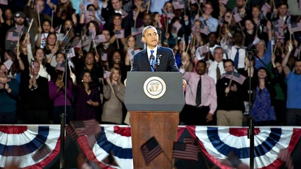 Barack Obama makes his acceptance speech.