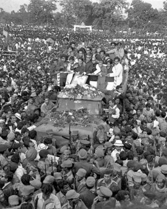 Sheikh Mujib, amid a sea of people at Ramna Racecourse (now Suhrawardy Uddyan), upon his return from ten-month-long ...
