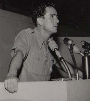 Defiant spirit … Arthur Pike addressing the International Union of Students congress in Prague in 1950.