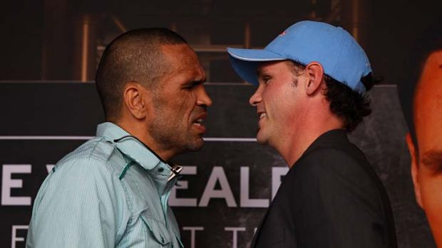 Face time ... Anthony Mundine and Daniel Geale square off on Wednesday.