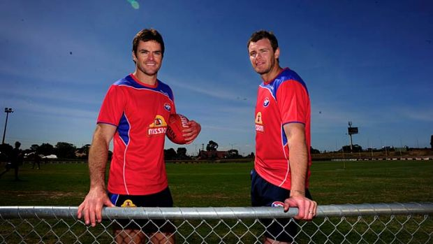 Back on track: Matthew Scarlett and Cameron Mooney at Western Bulldogs training.