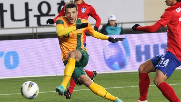 The equaliser ... Australia's Nikita Rukavytsya scores on his left foot.