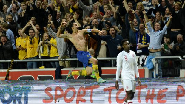 Stunner ... Zlatan Ibrahimovic celebrates his fourth goal.