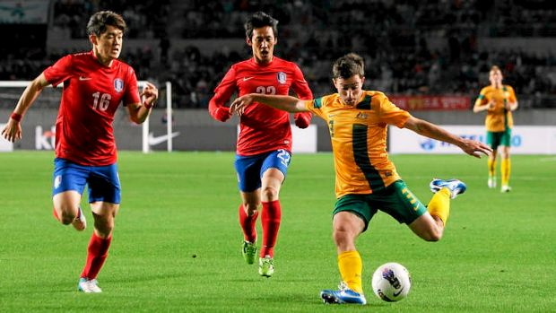 Australia's Tommy Oar shapes up to kick against South Korea in Wednesday's friendly.