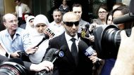 front Hosayn and his wife Alyaa El-Dennaoui leave the Glebe Coroners court