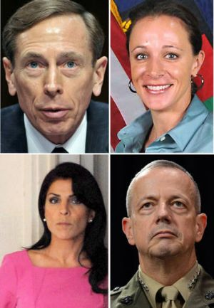 A combination picture shows clockwise from upper left:  General David Petraeus, his biographer Paula Broadwell, General ...
