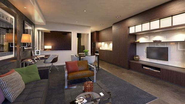 An artist's impression of a living room inside The Dunmore.