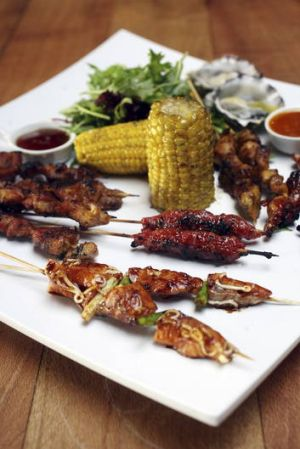 Recommended ... charcoal skewers with grilled corn cobs.