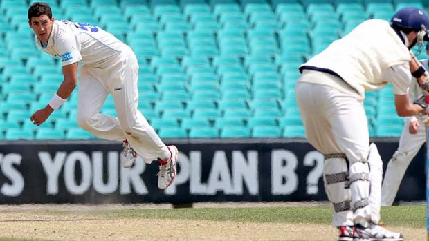Pressing his claims ... Mitchell Starc in action for the Blues.