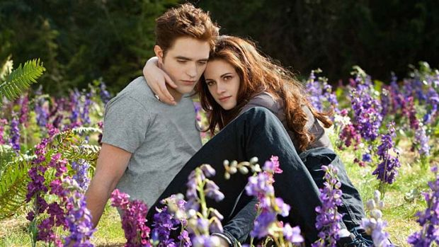 Robert Pattinson and Kristen Stewart as Edward and Bella.