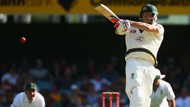 Debut … Rob Quiney facing South Africa at the Gabba during his first Test.