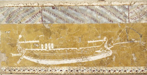 Wall painting and Intaglio: Fragment of wall facing with polychrome painting.
