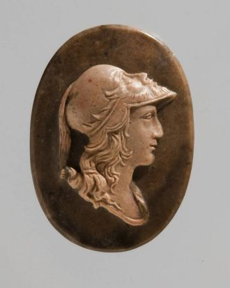 Cameo: head of Alexander the Great in a helmet.