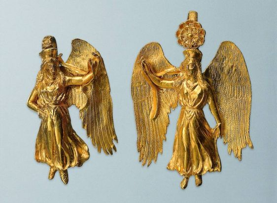 Earrings with figures of Nike Greek; mid-4th century BC. Gold. Each figure of Nike mirrors the motion of the other's ...