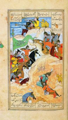 Iskander and the dying Darius. Miniature from the Khamse of the Persian poet Nizami (1141-1209), copied by Hasan ...