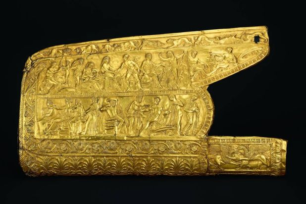 Overlay for a gorytos: scenes from the life of Achilles Northern Black Sea coast, Bosporan Kingdom, 350-325 BC. This ...