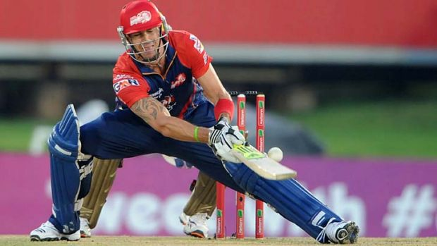 Marquee name ...  Kevin Pietersen playing for the Delhi Daredevils in the Champions League.