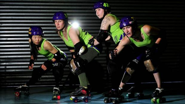"""Four of Canberra's best roller derby players, Christine Murray, 27 of Spence known as """"short stop"""" , Paula Chemello, 43 ..."""