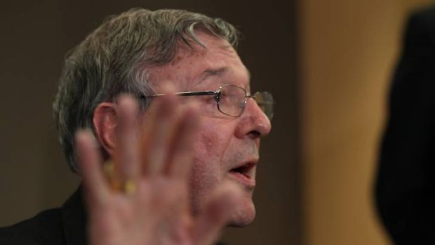 Cardinal George Pell of the Catholic Church during a press conference into the start of a Royal Commission.