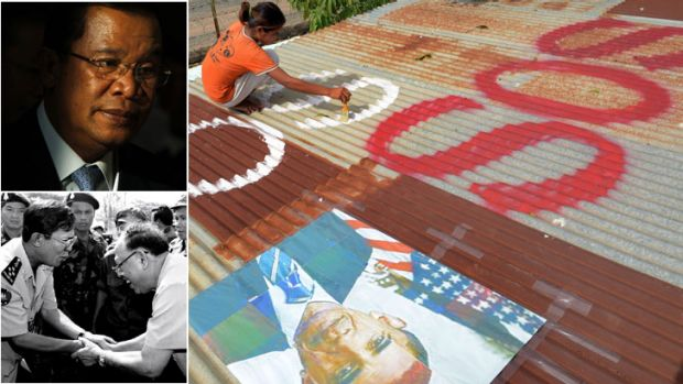 "Cry for help? ... a girl paints ""SOS"" under a portrait of the visiting US President. Top left: Hun Sen this year, and ..."