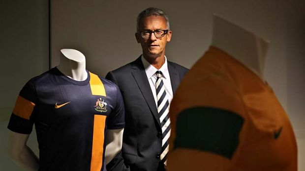 Kitted out ... David Gallop, the new FFA chief executive, in his Sydney office on Friday.