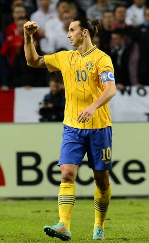 Goal machine ... Sweden's four-goal freak show Zlatan Ibrahimovic.