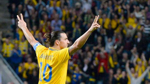 Zlatan the Great: Zlatan Ibrahimovic celebrates after four goals for Sweden against England, including one of the best ...