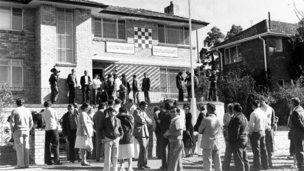 Visitors from Sydney at the unofficial Croatian Embassy on Canberra Avenue in May 1978. <i>Photo: Glen McDonald </i>