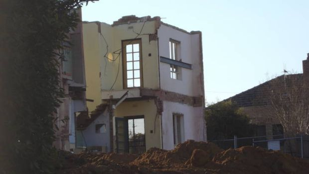 A home in Blandfordia 5 (Griffith) Housing Precinct which has undergone significant demolition work.