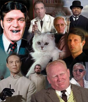 Hall of infamy … (clockwise from top left) Richard Kiel as Jaws; Christopher Lee as Francisco Scaramanga; ...