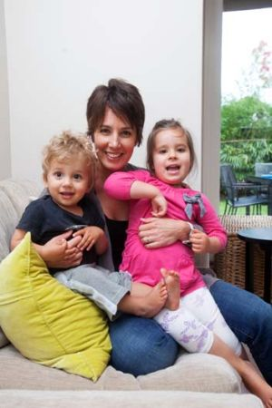 Sally Breden with her children Chloe, 3, and Finn, 15 months, at their Manly home.