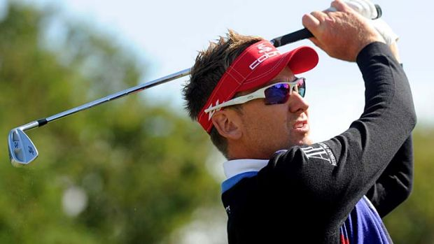 The world's hottest player, Ian Poulter, tees off during a perfect final day at Kingston Heath.