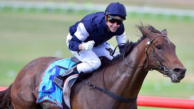 Easy does it … Nick Hall savours the victory on Tanby in the Zipping Classic at Sandown on Saturday.