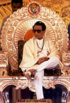 Hindu nationalist party Shiv Sena chief Bal Thackeray sits on a silver throne presented to him at a party convention in 2002.