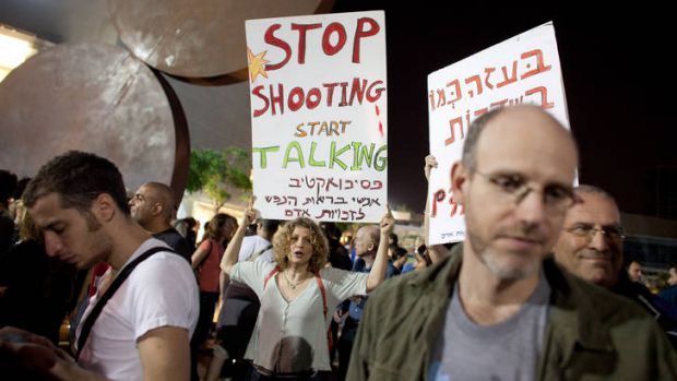 Left-wing Israeli activists demonstrate  in Tel Aviv against the Israeli airstrike on Gaza.