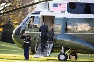 US President Barack Obama boards Marine One before departing for a trip to Thailand, Burma and Cambodia.