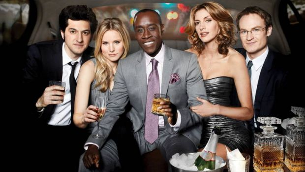 Lawson, far right, in <i>House of Lies</i>, with Don Cheadle, Kristen Bell and Ben Schwartz.