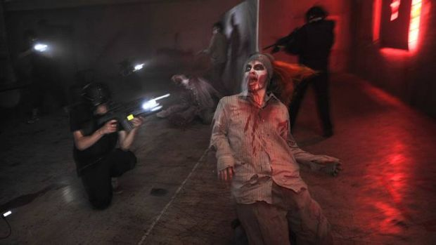 There's no shortage of pale eyes, rotting flesh and bloodlust in the real-life, role-playing, zombie-shooting game ...