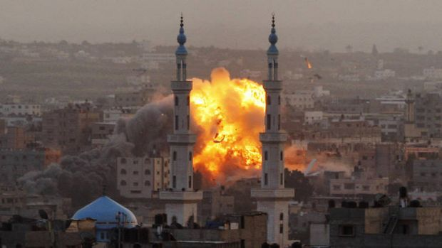 An explosion from an Israeli strike in Gaza City.
